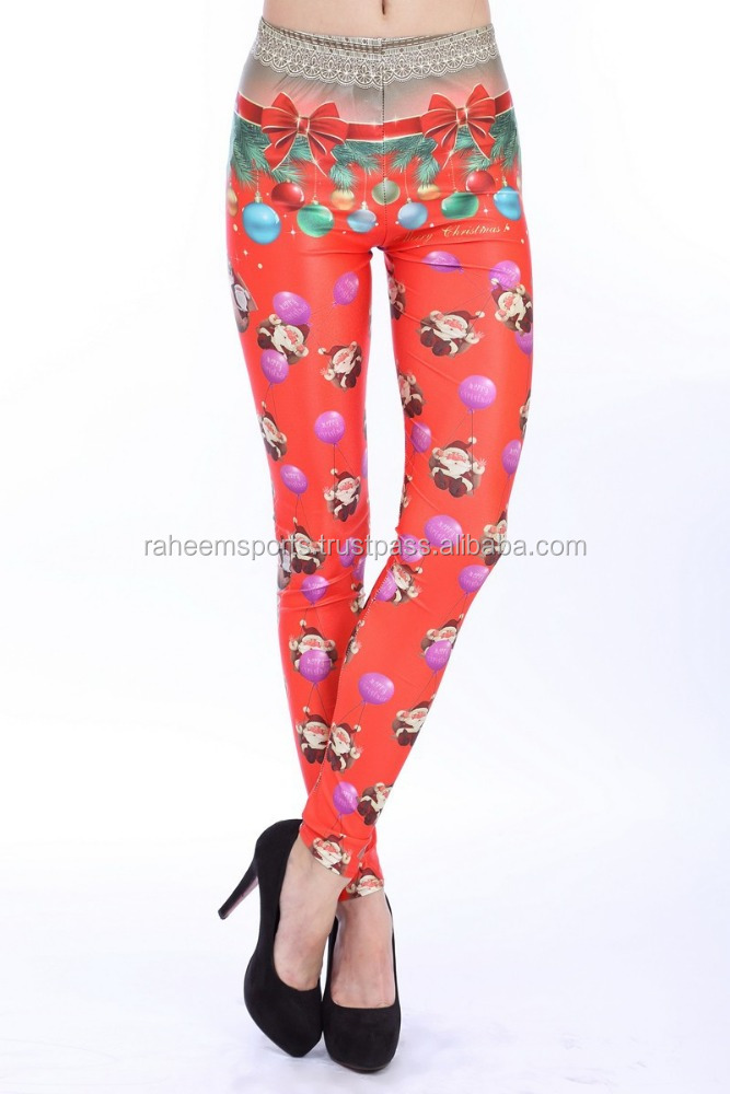 HOT VINTAGE BEAUTIFUL SEXY LADY NEW FASHION VINTAGE RED FESTIVE SANTA CLAUS DIGITAL PRINTING LEGGING PANTS