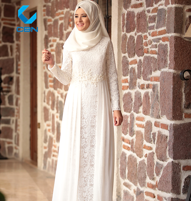 2018 Fashion New Design Islamic Clothing Muslim Dress Yakamoz Lace Evening White