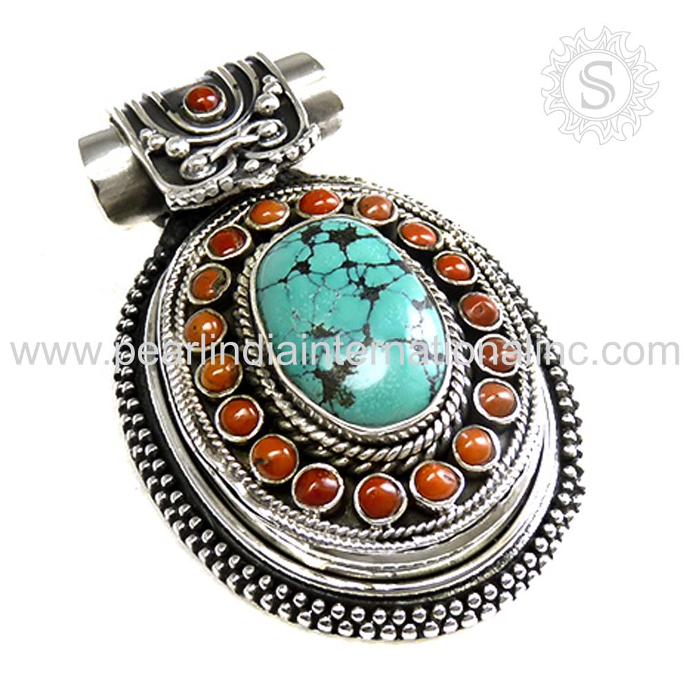 New arrival coral turquoise gemstone silver pendant wholesale silver jewelry 925 sterling silver pendant supplier