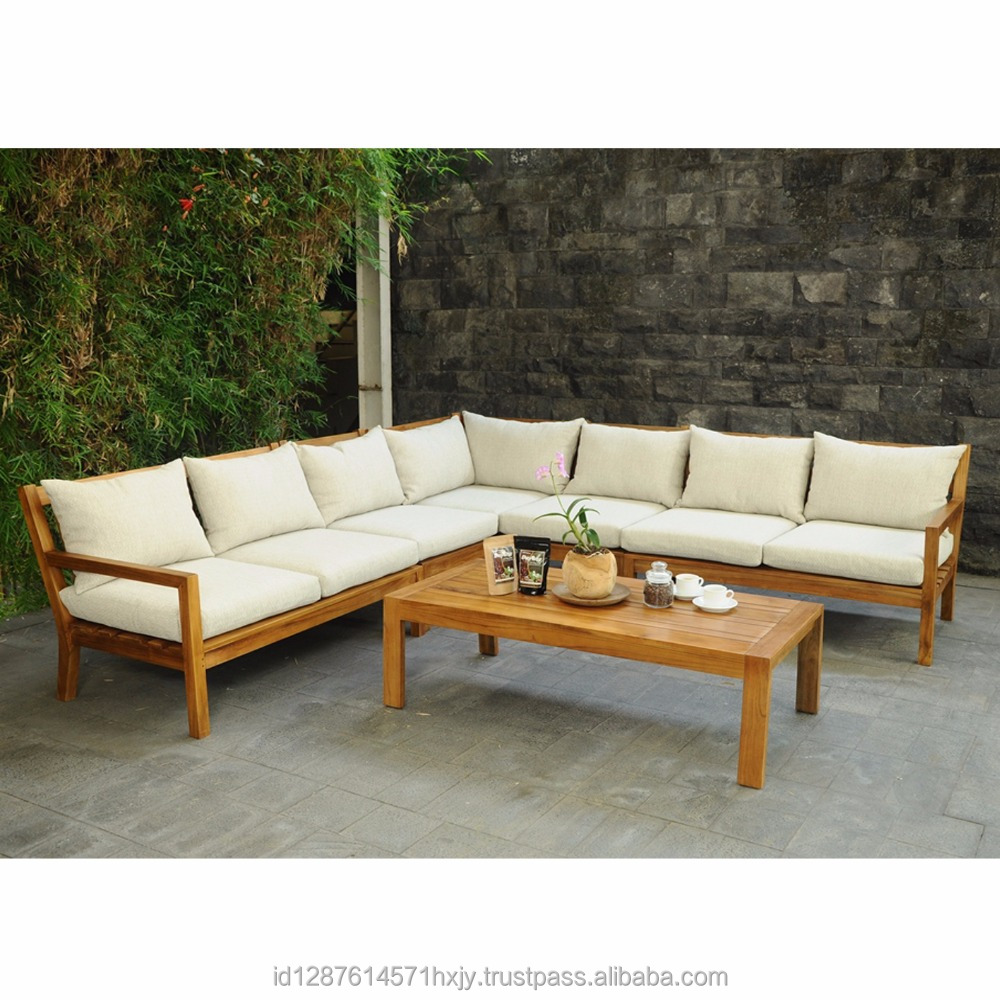 Newest Design White Fabric Corner Sofa From Jepara Indonesia