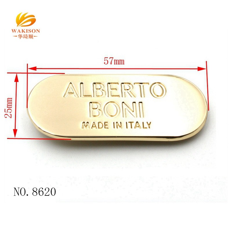 New metal item custom oval metal logo plate for your goods