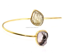 Latest Design New Amethyst & Golden Rutile 24k Gold Plated Gemstone Handmade Bangle Jewelry