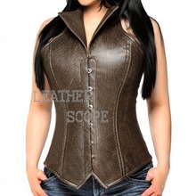Leather Corset Steel Boned Faux Top Drawer Leather Corset