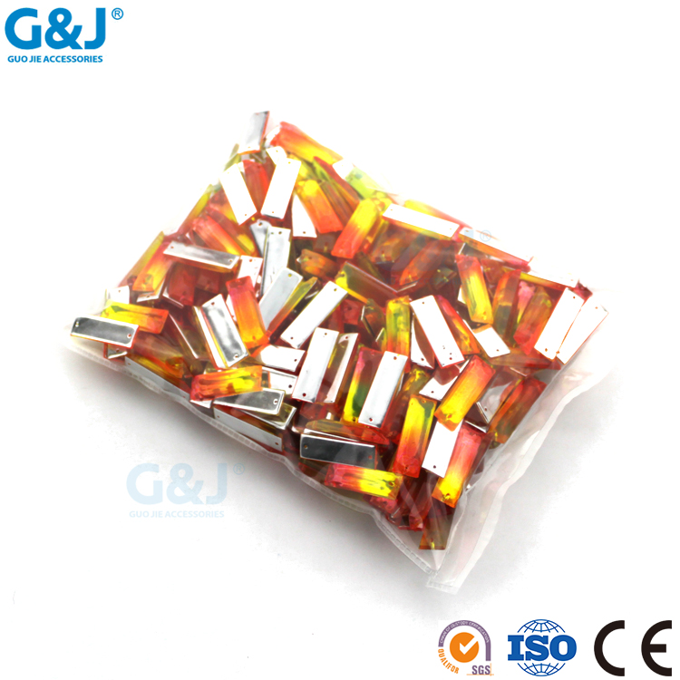 guojie brand wholesale small reddish yellow color beauty rectangle acrylic stone
