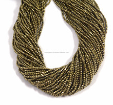 semi precious stone 2 mm pyrite gemstone full 13 inches golden color beads