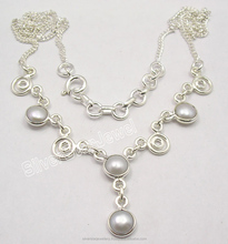 "Wish Gemstone Women Jewerly Reseller 925 Sterling Silver WHITE AAA PEARL WELL MADE Neclace 17.7"" FACTORY DIRECT"