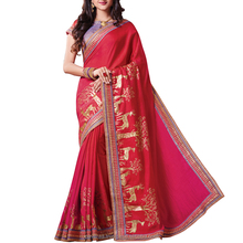 Red & Pink Dabka Work Dual Tone Silk Saree