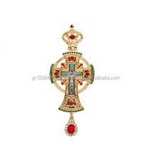 Christian Orthodox Relegious Golden Plate Pectoral Cross with Russian Type Enamel