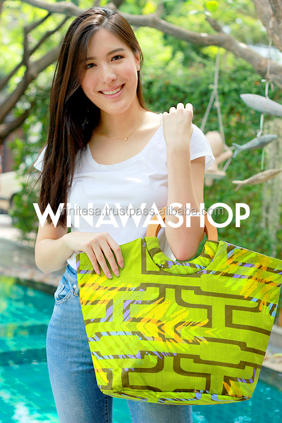 "WINAWA ""Ankara Shopper"" Hot African Wax Printed Fabric Fashion Bag and Handmade from Thailand"