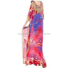Women's Wear Multi Colour Satin Silk 3D Digital Printed Long Kaftan Latest Digital Printed Kaftan for Party Wear Dress