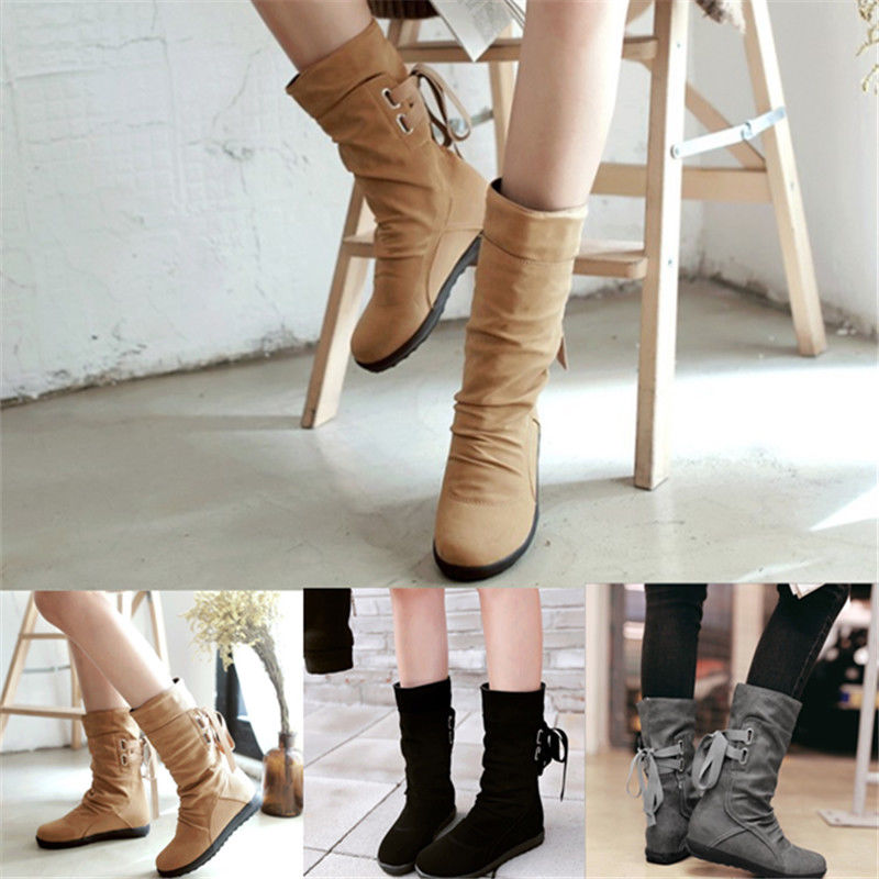 Women Girl Mid-Calf PU Boots Autumn Winter Warm Elegant Solid Flat Heels Shoes wholesale