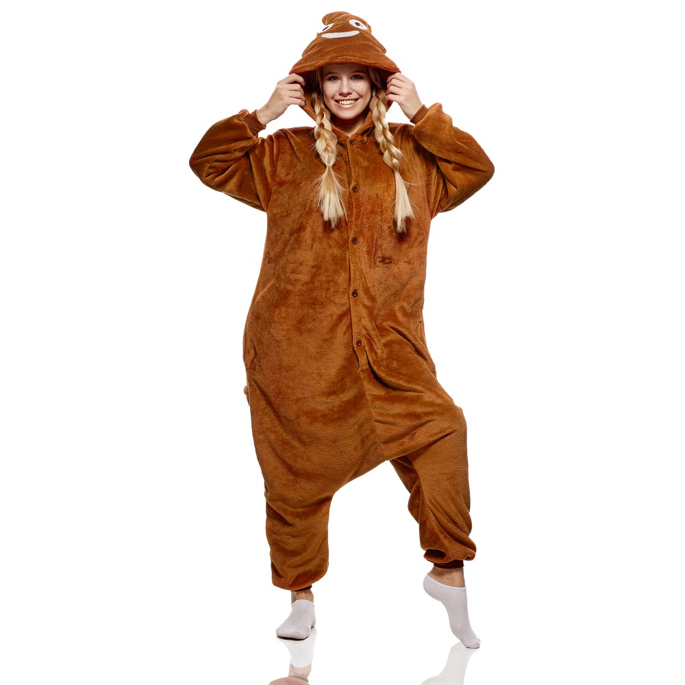 Adult Pajamas Smiling Poop Emoji Kigurumi With Butt Flap Pockets Plush Pile of Poo Hooded Onesie Costume Jumpsuit Home Clothes