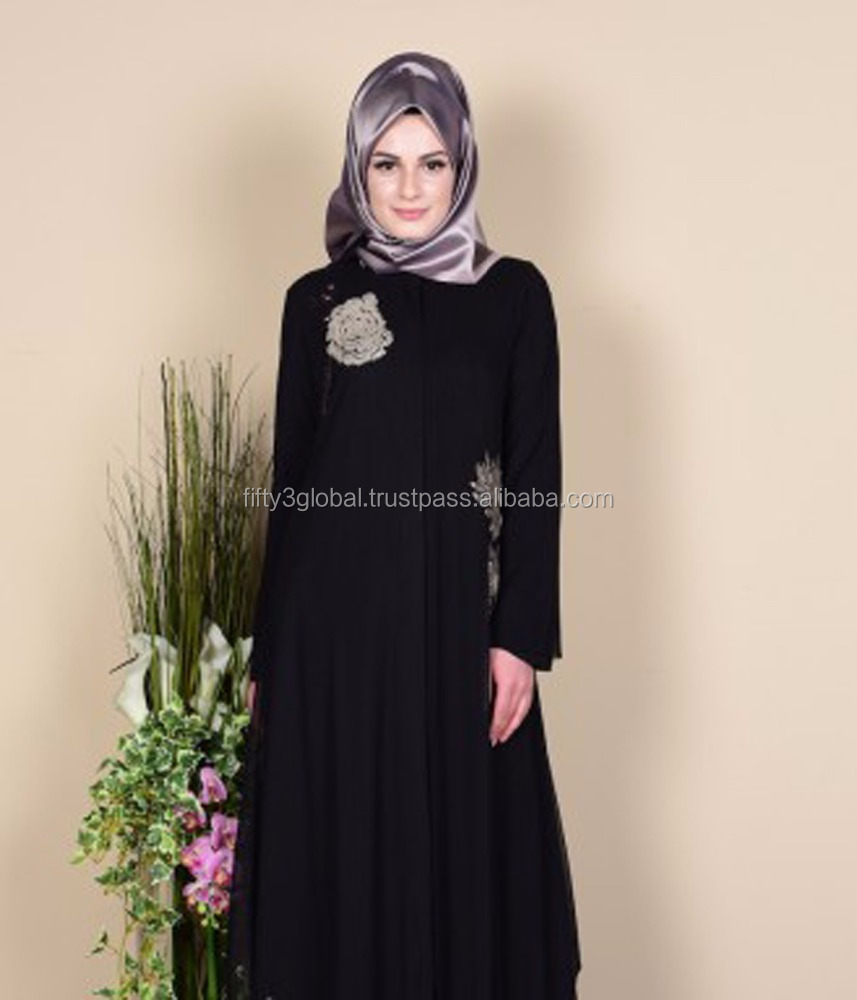 Black Colour Abaya Latest Design With Grey Hand Work