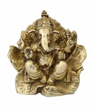 Brass lord hindu god ganesha sitting on leaf modern religious decort art 8""