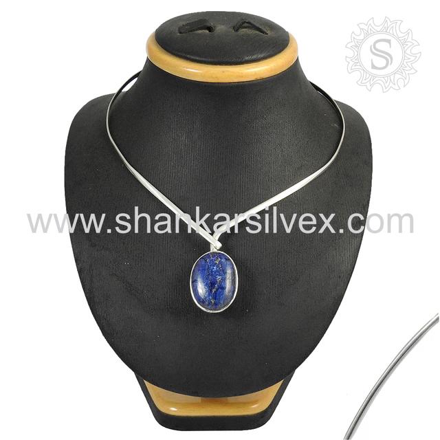 Wedding fine lapis gemstone necklace handmade 925 sterling silver online necklace jewelry manufacturer
