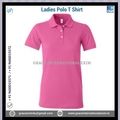 Pink Ladies Short Sleeve 100 Cotton Polo T shirts with Buttons