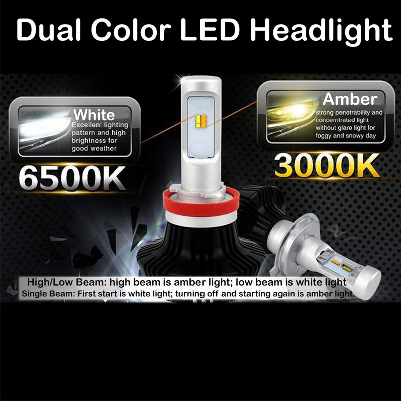 2017 New G7 G7S Yellow LED Headlight Dual Color White Amber 8000LM Luxeon Z ES Chip
