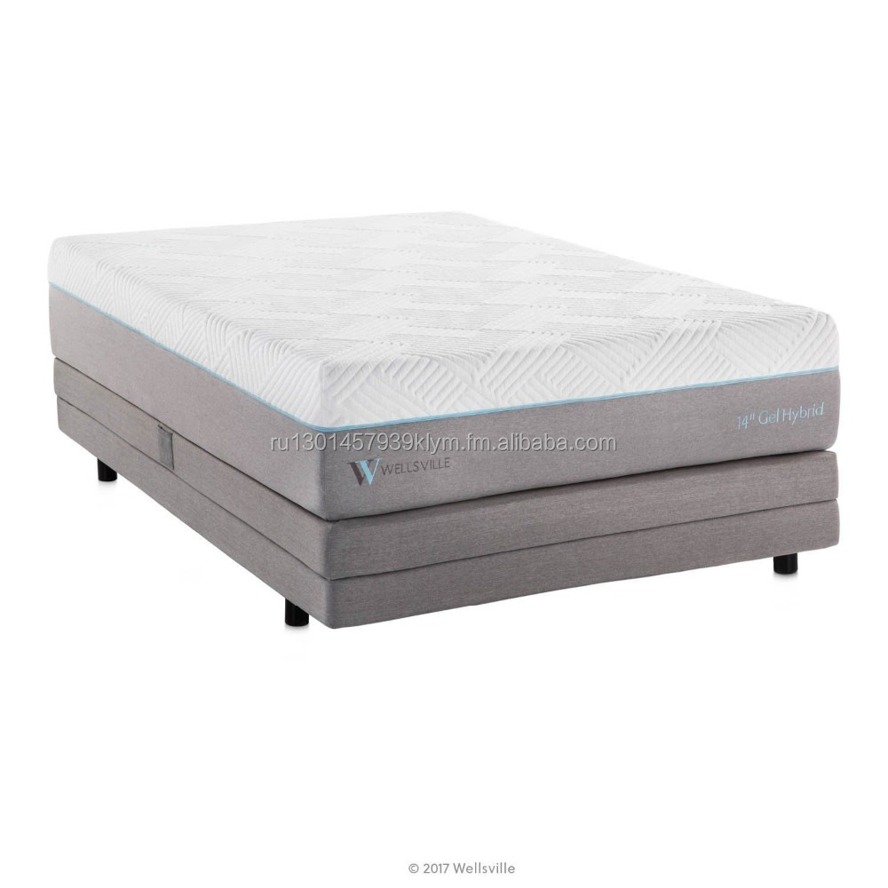 WELLSVILLE 14 Inch Gel Memory Foam and Innerspring Premium Hybrid Mattress, King - Jozy Mattress | Jozy.net