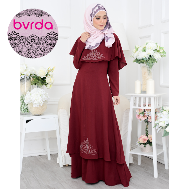 Premium Quality Exclusive Modern Three-Layered Maroon Ladies Dress with Floral Embroidery and Beads