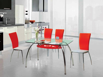 Luxury classic glass dining table and stainless steel chair