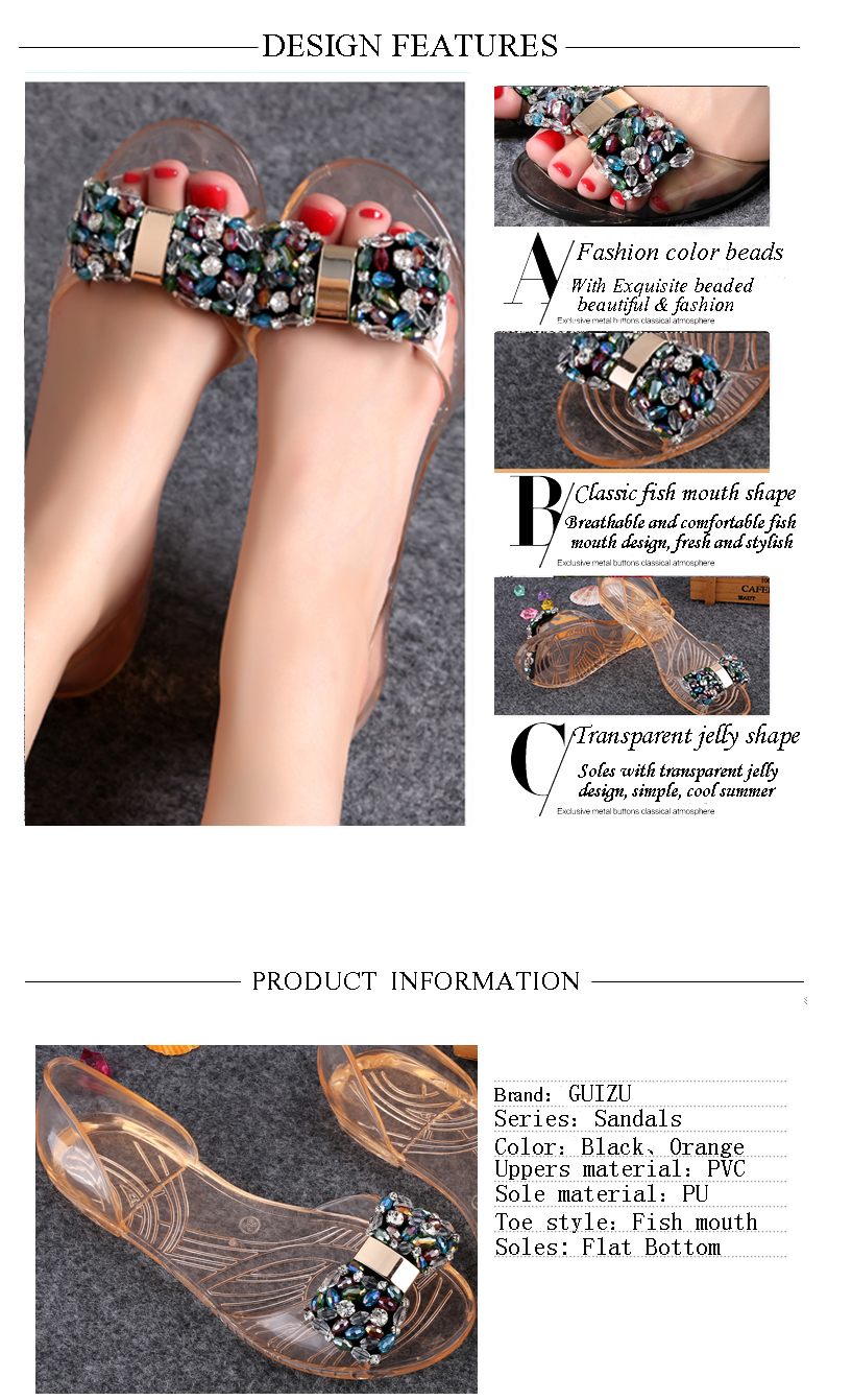 Fashion Colorful Beads PVC summer sandals for women