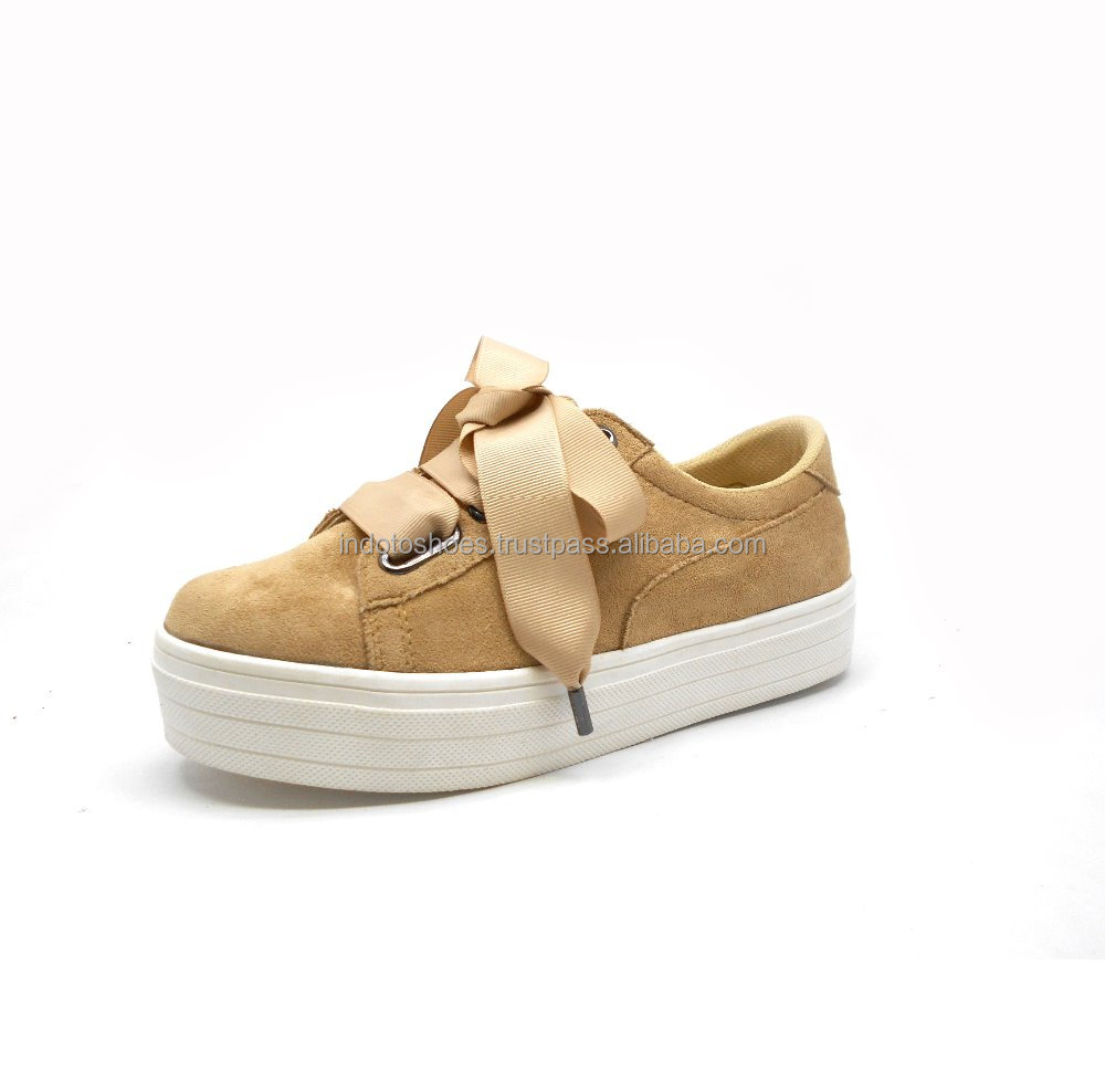 Sporty Women Sneakers Shoes Suede with Satin Ribbon