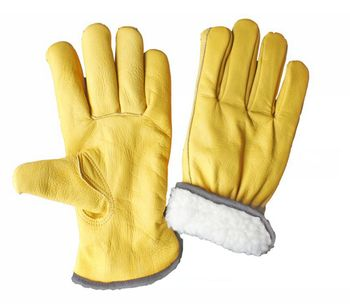 Full White Lining Cow Grain Leather Driver Gloves