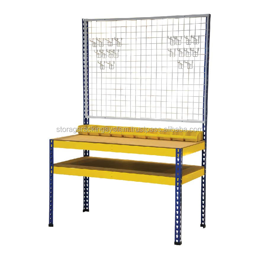 Boltless Shelving Workbench 2 Layer with Wire Mesh and Netting Hook
