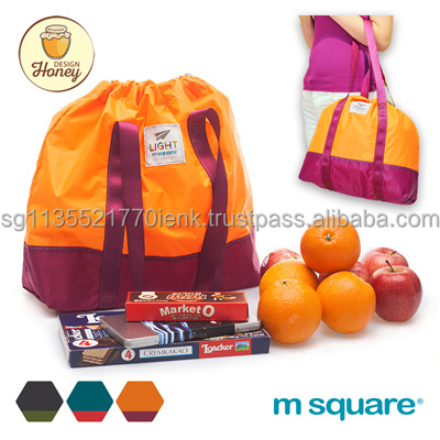 M Square Light Series Foldable Drawstring Shopping Bag Travel Bag Gym Bag