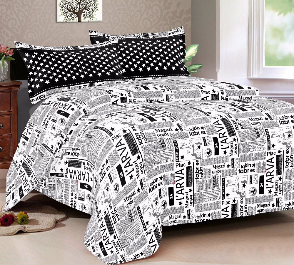 Linen Cotton Sattin Black House Presents Queen Printed Bed Sheet SATTINQUEEN16A