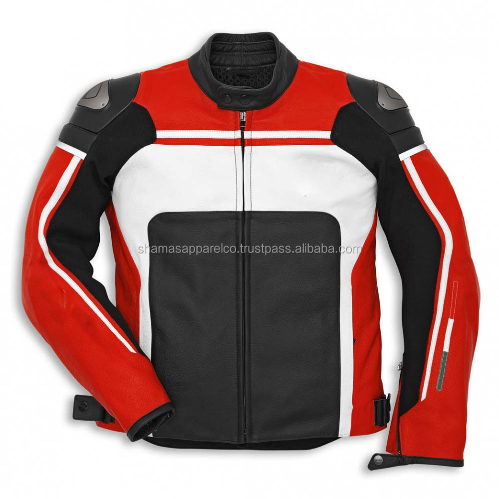 sport street jackets men leather breeze perforated black/red/White