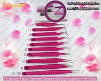 New Flower Petals Back Ground Eyelash Extension Hot Pink Color Tweezers & Spring Scissors . Best Quality From Stylish Beauty Ind