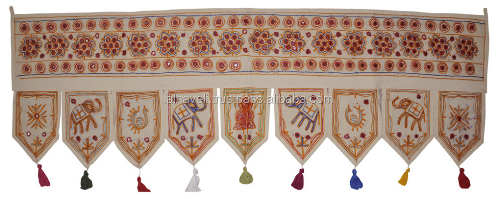 Attractive 100% Cotton Vintage Designer Door Tapastry Embroidered Door Hanging Toran Indian White