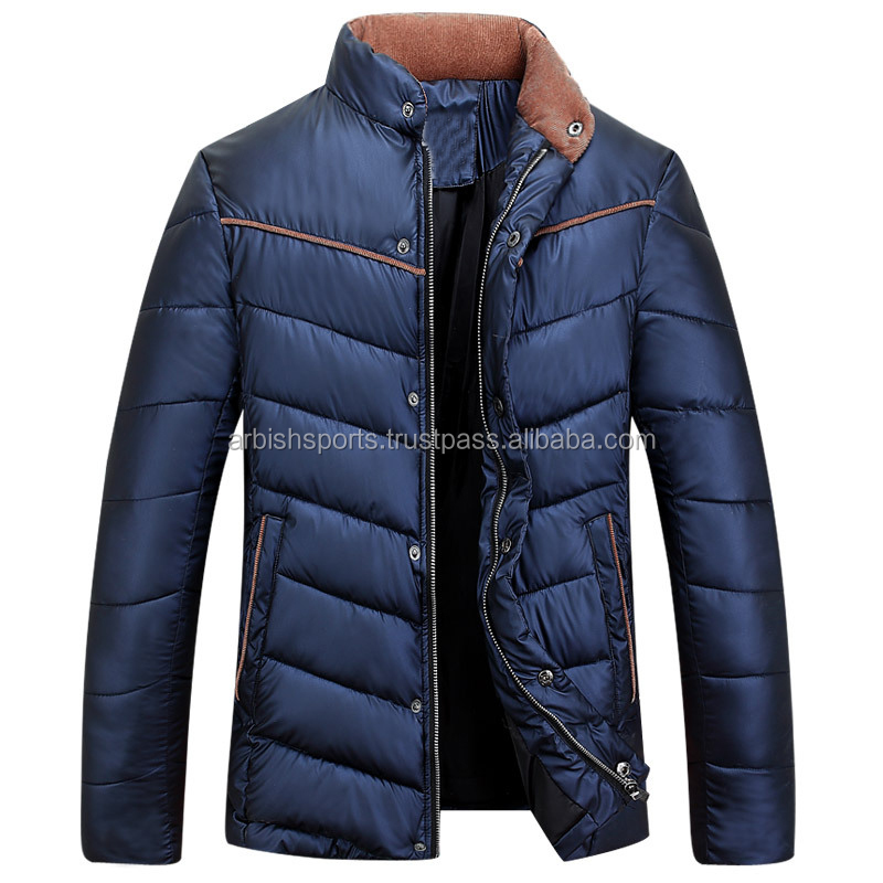 100% Polyester Hot Sale Men Casual Warm Down Color Balck Winter Jacket with long sleeves and zipper