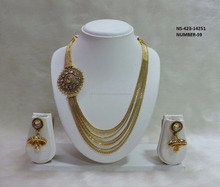 Latest Lightweight Ethnic Traditional South Indian 18k Gold Plated String Necklace Set South Indian Bridal Jewelry