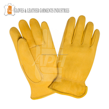 Yellow Deer Skin Leather Driver Gloves Leather Safety Gloves Work
