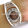 Hot designer silver bangle fossil jasper gemstone 925 sterling silver jewelry wholesale store