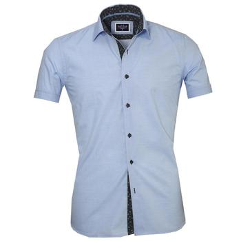Dark Blue Plaid Short Sleeve High Quality  Dress Shirt