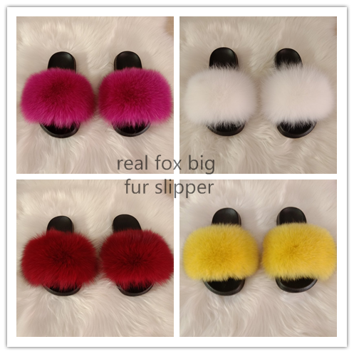 New design fox fur slippers women bedroom shoe