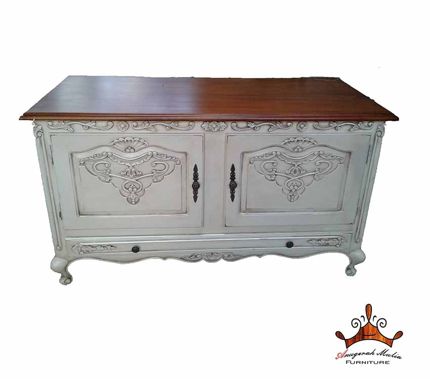 Buffet Table Made From Solid Teak Wood With Duco White Finishing For Furniture