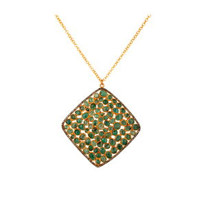 Natural Emerald Gemstone Diamond Pendant New Design Gold Plated Silver Chain Pendant Jewelry Manufacture
