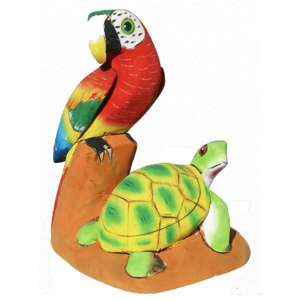 Balsa Wood Colored Parrot and Turtle Nice Original Hand Crafted Figurines, Carvings of Ecuador