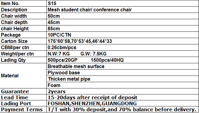 S15# Wholesale price plywood panel writing chair for student