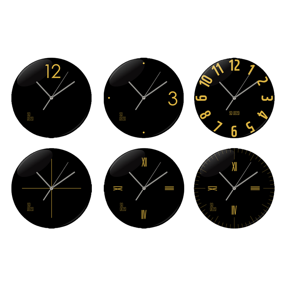 SD Wall Clock Gold Black Line 6 Color Glossy Acryl Material Clocks