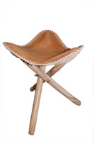 Genuine Leather Camping Stool With Carving