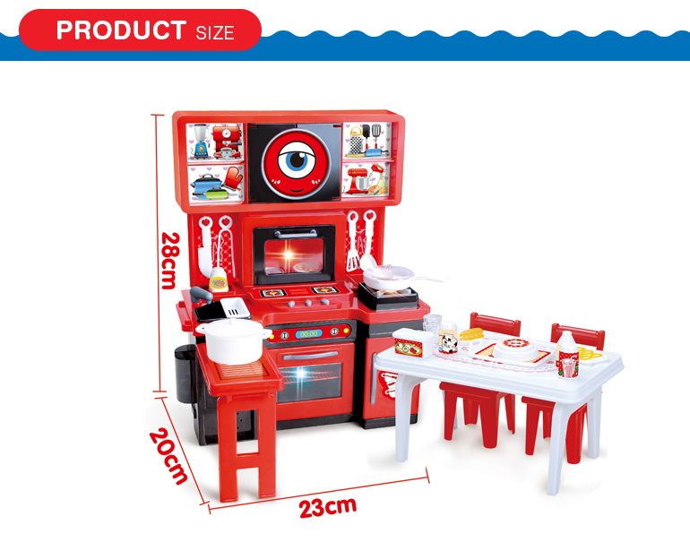 Role play cute funny real kitchen children cooking play toy with light