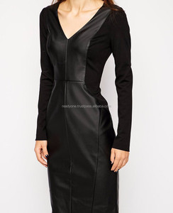Pencil Dress With Leather Look Panels