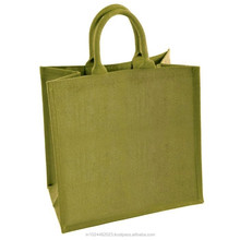 High quality fashion cotton handle eyelet coating jute shopping bag/ carry bag/ tote bag