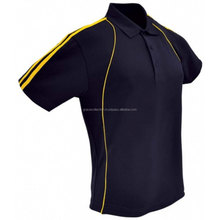 Casual sports men's stripe and piping polo shirts