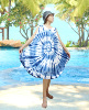 HIPPIE BOHO thai handmade blue indigo tie dye rayon women beach maxi sleeveless umbrella summer dress plus size